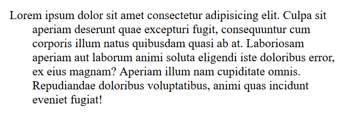 Negative indent in a paragraph