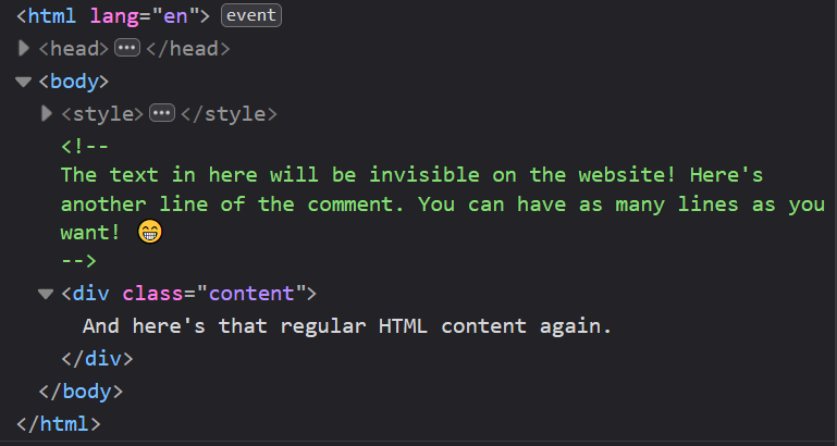Browser inspector showing the multiline HTML comment